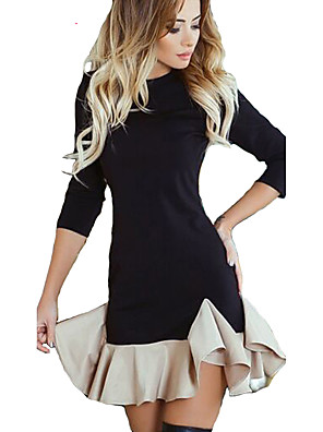cheap Women's Dresses-Women's Mermaid Tail Sheath Dress - Long Sleeve Color Block Patchwork Crew Neck Sophisticated Night out&Special occasion Street Black S M L XL XXL / Cotton