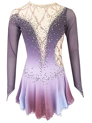 cheap Ice Skating Dresses , Pants & Jackets-21Grams Figure Skating Dress Women's Girls' Ice Skating Dress Purple Light Purple Royal Blue Open Back Spandex Stretch Yarn High Elasticity Training Skating Wear Solid Colored Classic Crystal