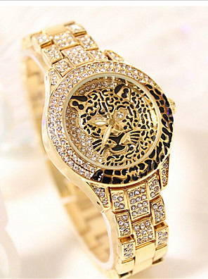 cheap Quartz Watches-Women's Quartz Watches Luxury Fashion Silver Gold Rose Gold Stainless Steel Quartz Rose Gold Gold Silver Water Resistant / Waterproof Leopard 30 m 1 pc Analog One Year Battery Life