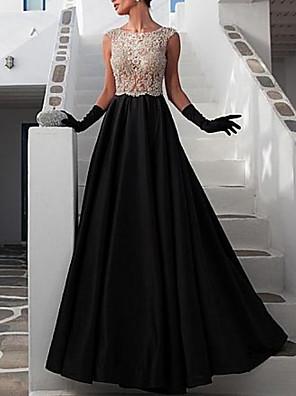 cheap Junior Bridesmaid Dresses-A-Line Beautiful Back Prom Dress Jewel Neck Sleeveless Floor Length Satin with Appliques 2020