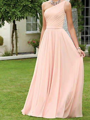 cheap Evening Dresses-A-Line One Shoulder Floor Length Chiffon Bridesmaid Dress with Pleats
