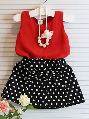 cheap Girls' Dresses-Kids Girls' Basic Polka Dot Sleeveless Clothing Set Red