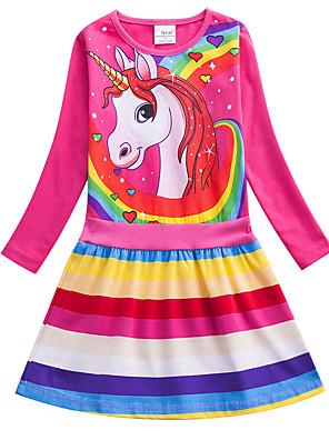 baratos Vestidos De Unicórnio-Infantil Para Meninas Activo Estilo bonito Azul e Branco Vermelho Unicorn Listrado Arco-Íris Desenho Animado Estampado Manga Longa Altura dos Joelhos Vestido Azul