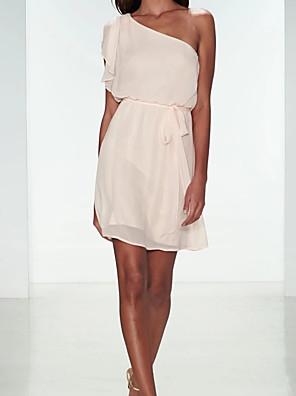 cheap Bridesmaid Dresses-A-Line One Shoulder Knee Length Chiffon Bridesmaid Dress with Sash / Ribbon / Pleats