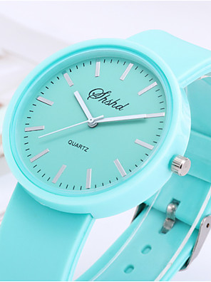 cheap Quartz Watches-Girls' Quartz Watches Fashion Word Watch Black White Blue Silicone Quartz Black White Blushing Pink Casual Watch Adorable 1 pc Analog One Year Battery Life / Stainless Steel