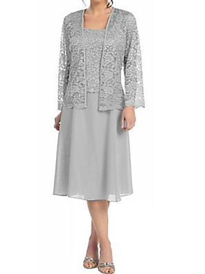 cheap Mother of the Bride Dresses-A-Line Mother of the Bride Dress Elegant Plus Size Square Neck Tea Length Chiffon Lace Long Sleeve with Lace 2020