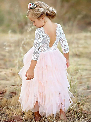 cheap Flower Girl Dresses-Kids Girls' Princess Party Daily Solid Colored Flower Lace Layered Long Sleeve Dress White