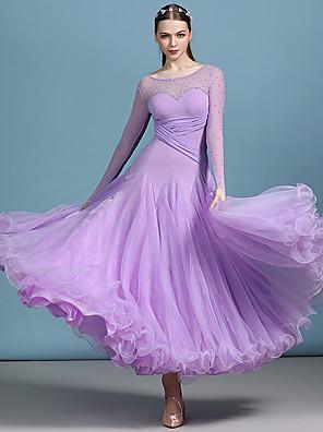 cheap Ballroom Dancewear-Ballroom Dance Dress Ruching Split Joint Crystals / Rhinestones Women's Performance Long Sleeve High Spandex Organza Tulle