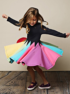 cheap Girls' Dresses-Kids Girls' Cute Striped Floral Long Sleeve Knee-length Dress Black