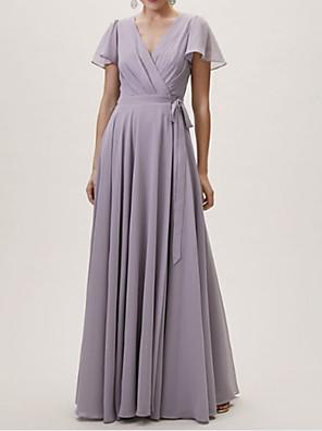 cheap Bridesmaid Dresses-A-Line V Neck Floor Length Chiffon / Lace Bridesmaid Dress with Sash / Ribbon / Pleats