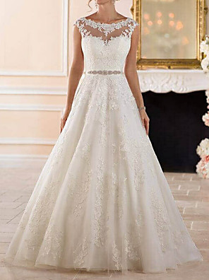 cheap Wedding Dresses-A-Line Wedding Dresses Bateau Neck Sweep / Brush Train Lace Cap Sleeve Glamorous See-Through Illusion Detail with Sashes / Ribbons Beading Appliques 2020