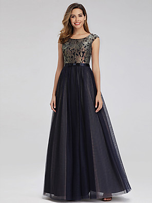 cheap Prom Dresses-A-Line Elegant Formal Evening Dress Jewel Neck Sleeveless Floor Length Lace Tulle with Pattern / Print 2020