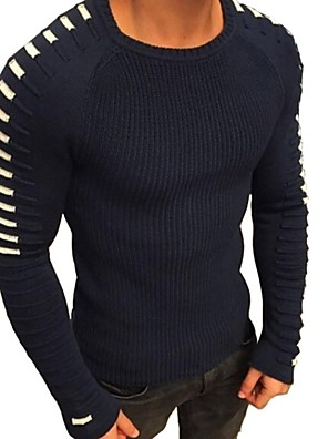 cheap Men's Sweaters & Cardigans-Men's Striped Long Sleeve Pullover Sweater Jumper, Round Neck Black / White / Army Green US32 / UK32 / EU40 / US34 / UK34 / EU42 / US36 / UK36 / EU44