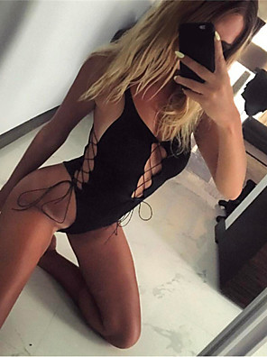 cheap Suits-Women's Criss Cross Bodysuits Nightwear Solid Colored Black S M L