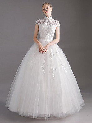 cheap Wedding Dresses-Ball Gown Wedding Dresses High Neck Floor Length Lace Tulle Polyester Short Sleeve Glamorous See-Through Illusion Detail with Lace Crystals 2020