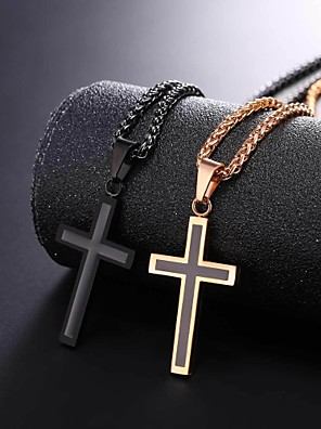 cheap Quartz Watches-Men's Pendant Necklace Rope franco chain Cross Dangling Stainless Steel Black Silver Rose Gold 55 cm Necklace Jewelry 1pc For Gift Daily