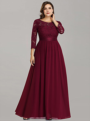 cheap Mother of the Bride Dresses-A-Line Mother of the Bride Dress Plus Size Jewel Neck Floor Length Chiffon Lace 3/4 Length Sleeve with Lace 2020