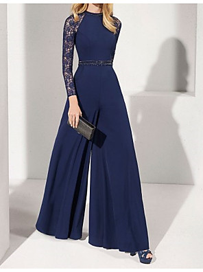 cheap Evening Dresses-Jumpsuits Elegant Blue Wedding Guest Formal Evening Dress Jewel Neck Long Sleeve Floor Length Chiffon with Sash / Ribbon Beading 2020
