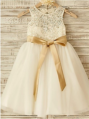 cheap Junior Bridesmaid Dresses-A-Line Jewel Neck Knee Length Lace / Tulle Junior Bridesmaid Dress with Bow(s) / Lace / Sash / Ribbon / First Communion