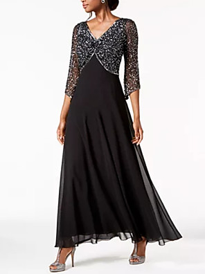 cheap Evening Dresses-A-Line Elegant Black Wedding Guest Formal Evening Dress V Neck 3/4 Length Sleeve Ankle Length Chiffon Lace with Sequin 2020