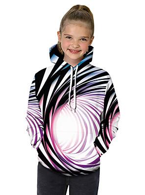 cheap Boys' Tops-Kids Toddler Girls' Active Basic Black & White Fantastic Beasts Striped Color Block 3D Print Long Sleeve Hoodie & Sweatshirt Rainbow