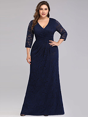 cheap Prom Dresses-Sheath / Column Plus Size Blue Wedding Guest Formal Evening Dress V Neck 3/4 Length Sleeve Floor Length Lace with Draping Lace Insert 2020