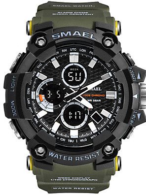 cheap Sport Watches-SMAEL Men's Sport Watch Digital Sporty Outdoor Military Rubber Black / Blue / Red Analog - Digital - Black / Blue black / gold Black One Year Battery Life / Stopwatch / Maxell CR2025