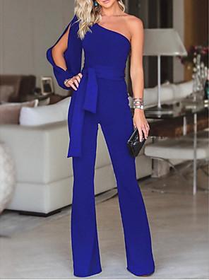 povoljno Ženski jednodijelni kostimi-Žene Obala Crn Plava Wide Leg Jumpsuits Onesie, Jednobojni S M L