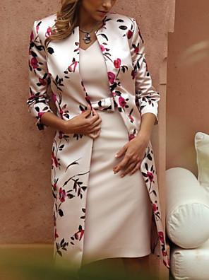 cheap Romantic Lace Dresses-Women's Two Piece Dress - Long Sleeve Floral Lace Spring & Summer V Neck Elegant Slim 2020 Beige M L XL XXL XXXL