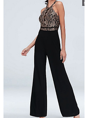 cheap Evening Dresses-Jumpsuits Elegant Formal Evening Dress Halter Neck Half Sleeve Floor Length Chiffon Lace with Appliques 2020