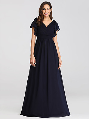 cheap Mother of the Bride Dresses-A-Line Mother of the Bride Dress Plus Size V Neck Floor Length Chiffon Short Sleeve with Ruffles Ruching 2020 / Petal Sleeve