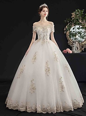 cheap Wedding Dresses-Ball Gown Wedding Dresses Off Shoulder Floor Length Tulle Short Sleeve Glamorous Sparkle & Shine with Beading Appliques 2020