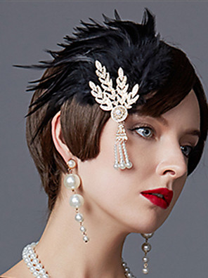 cheap Historical & Vintage Costumes-Charleston Vintage 1920s The Great Gatsby Flapper Headband Women's Feather Costume Black / Golden / Red Vintage Cosplay Festival
