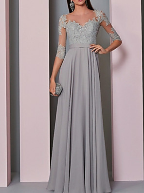 cheap Prom Dresses-A-Line Empire Grey Wedding Guest Formal Evening Dress Illusion Neck Half Sleeve Floor Length Chiffon Lace with Pleats Appliques 2020