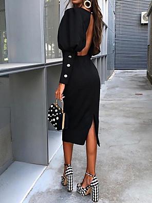 cheap Romantic Lace Dresses-Women's Sheath Dress - Long Sleeve Solid Colored Backless Elegant Slim Black S M L XL