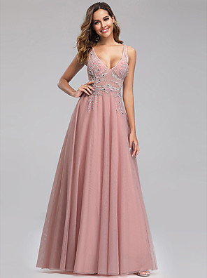cheap Evening Dresses-A-Line Open Back Formal Evening Dress Plunging Neck Sleeveless Floor Length Tulle with Beading 2020