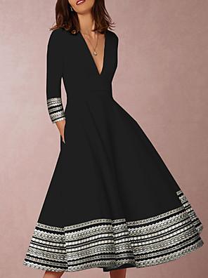 cheap Women's Blouses & Shirts-Women's Swing Dress - 3/4 Length Sleeve Geometric Print Deep V Elegant Going out Black S M L XL XXL XXXL