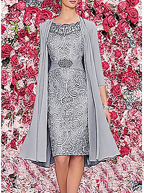 cheap Mother of the Bride Dresses-Women's Two Piece Dress Knee Length Dress - 3/4 Length Sleeve Paisley Solid Colored Lace Formal Style Spring Fall Elegant Cocktail Party Prom Birthday Chiffon 2020 Wine Dark Blue Gray M L XL XXL 3XL