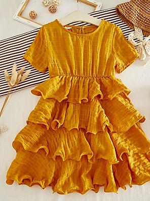 cheap Girls' Dresses-Kids Girls' Solid Colored Dress Yellow