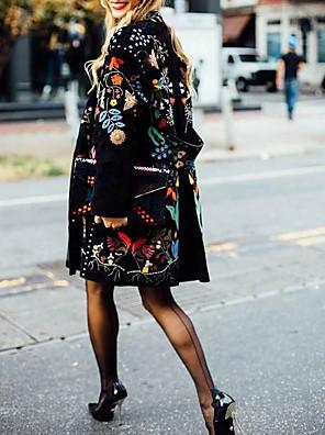 cheap Women's Blouses & Shirts-Women's Trench Coat Regular Plants Daily Spring Fall Black M / L / XL