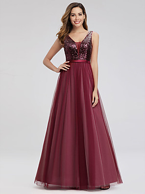 cheap Prom Dresses-A-Line Elegant & Luxurious Prom Dress Plunging Neck Sleeveless Floor Length Chiffon Sequined with Sequin 2020