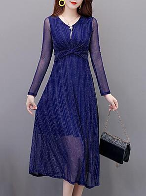 cheap Romantic Lace Dresses-Women's A Line Dress - Long Sleeve Striped Pleated V Neck Elegant Street chic Daily Wear Wine Blue S M L XL XXL XXXL XXXXL XXXXXL