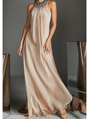 cheap Bridesmaid Dresses-A-Line Reformation Amante Pink Holiday Formal Evening Dress Halter Neck Sleeveless Sweep / Brush Train Chiffon with Crystals Beading 2020