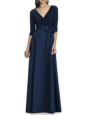 cheap Evening Dresses-A-Line Elegant Formal Evening Dress V Neck 3/4 Length Sleeve Floor Length Jersey with Bow(s) 2020