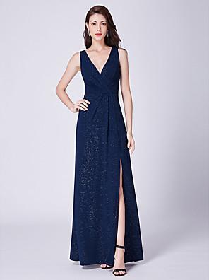 cheap Evening Dresses-A-Line Elegant Formal Evening Dress Plunging Neck Sleeveless Floor Length Cotton Blend with Split Front 2020