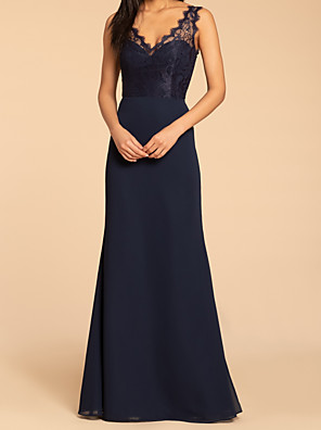 cheap Bridesmaid Dresses-A-Line V Neck Floor Length Chiffon / Lace Bridesmaid Dress with Appliques