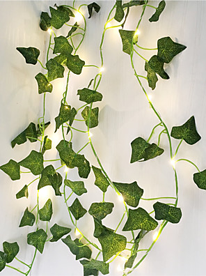 cheap Quartz Watches-2M Artificial Plants Led String Light Creeper Green Leaf Ivy Vine For Home Wedding Decor Lamp DIY Hanging Garden Yard Lighting  come without battery)