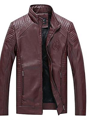 cheap Men's Jackets & Coats-Men's Daily Regular Leather Jacket, Solid Colored Stand Long Sleeve PU Black / Red / Khaki