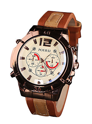 cheap Sport Watches-Men's Sport Watch Quartz Outdoor Chronograph Leather Black / Red / Brown Analog - Black Red Black / White One Year Battery Life