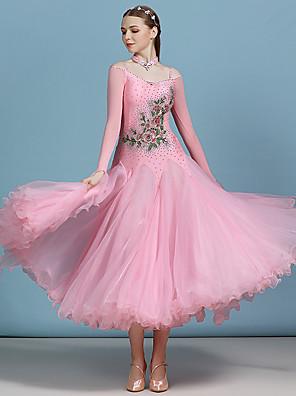 cheap Evening Dresses-Ballroom Dance Dress Appliques Split Joint Crystals / Rhinestones Women's Performance Long Sleeve High Spandex Organza Tulle